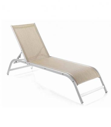 Bain de soleil aluminium et toile empilable dossier - Bain de soleil confortable ...