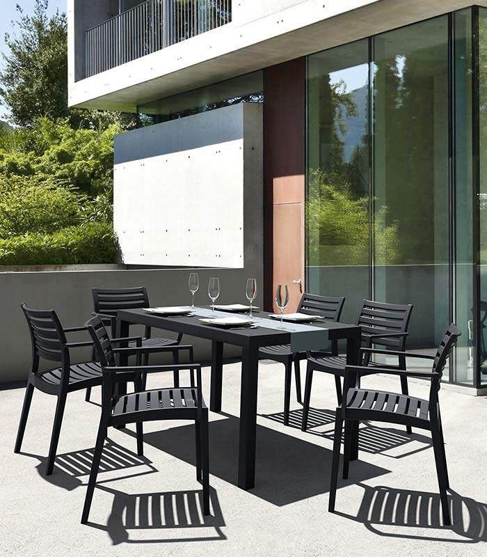 table de jardin en r sine ares 80 x 140 cm aspect r sine. Black Bedroom Furniture Sets. Home Design Ideas