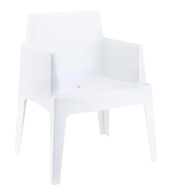 Fauteuil de terrasse box blanc empilable r sine monobloc for Fauteuil bain de soleil