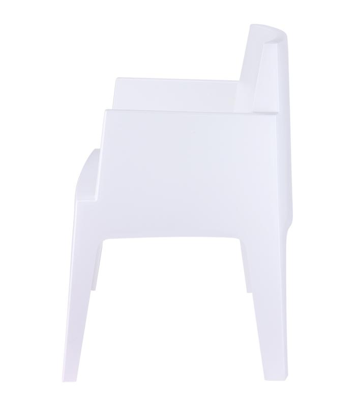 Fauteuil de terrasse box blanc empilable r sine monobloc for Fauteuil de jardin bain de soleil