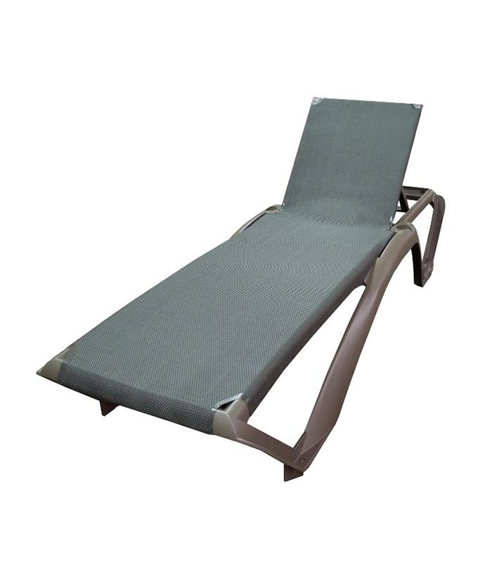 Transat marina design couleur bois weng avec toile textil ne for Bain de soleil fauteuil