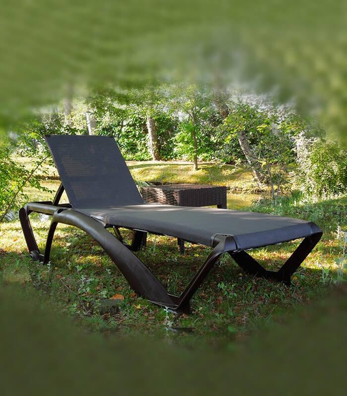 Transat marina design couleur bois weng avec toile textil ne for Solde transat bain de soleil