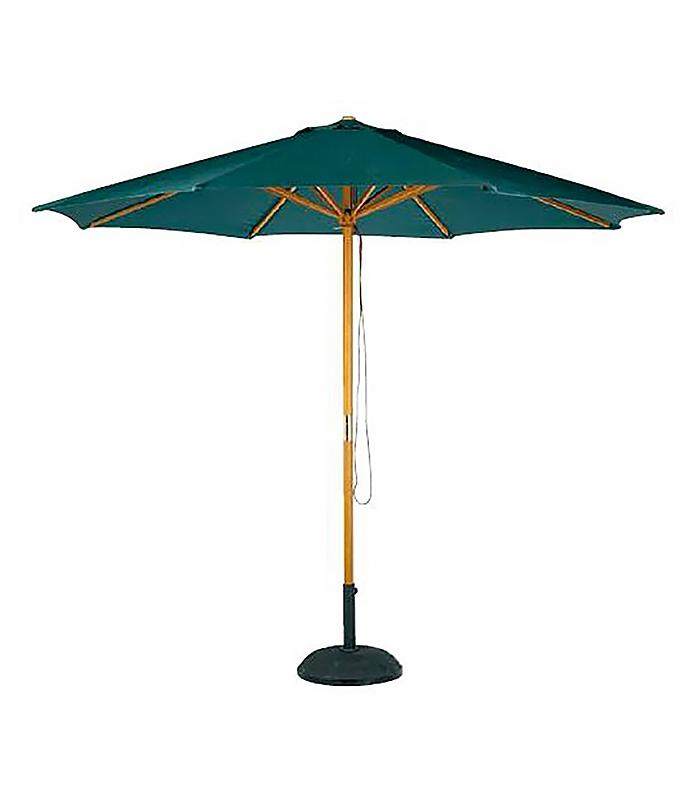 parasol bois rond 3 m avec toile polyester. Black Bedroom Furniture Sets. Home Design Ideas