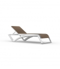 Chaise longue toile chocolat SKY