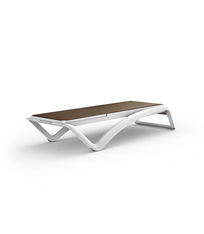 Chaise longue sky resol structure r sine et toile textile for Bain de soleil chaise longue