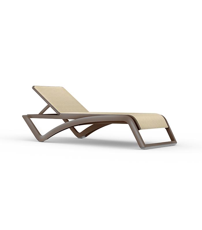 Chaise longue weng sky resol toile textile et structure for Chaise de soleil longue