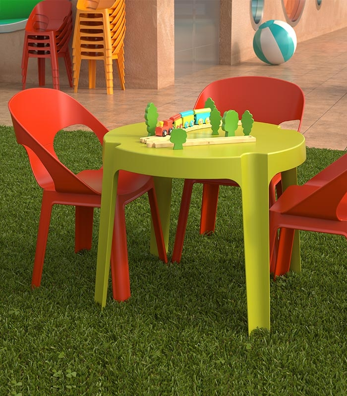ensemble 4 chaises et table enfant de jardin en plastique. Black Bedroom Furniture Sets. Home Design Ideas