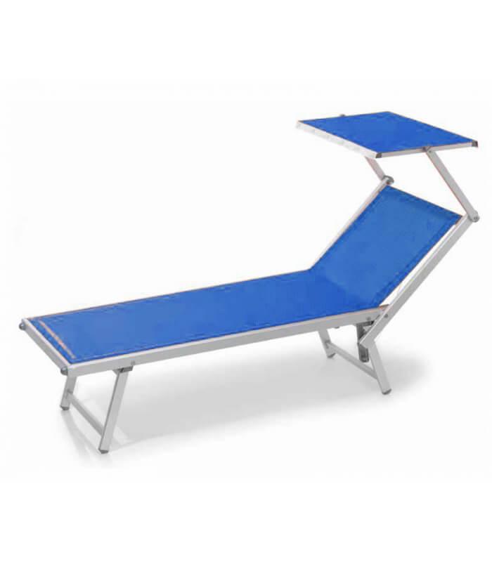 Transat aluminium standard avec dossier r glable t ti re for Bain de soleil marina bleu