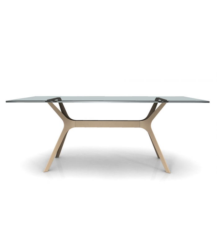 Table vela verre aluminium outdoor et indoor for Table de terrasse aluminium