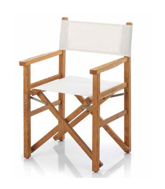 Fauteuil metteur en sc ne bois et toile pliant ramberti for Bain de soleil fauteuil