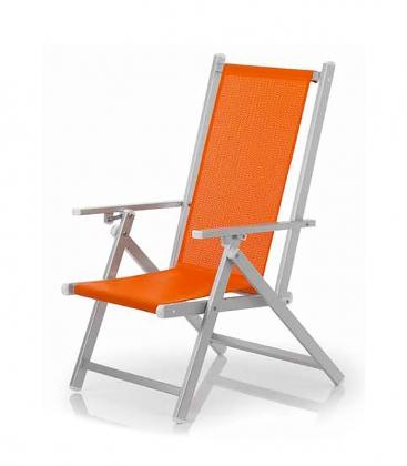 Chaise de jardin pliante aluminium avec accoudoirs et for Fauteuil de jardin bain de soleil