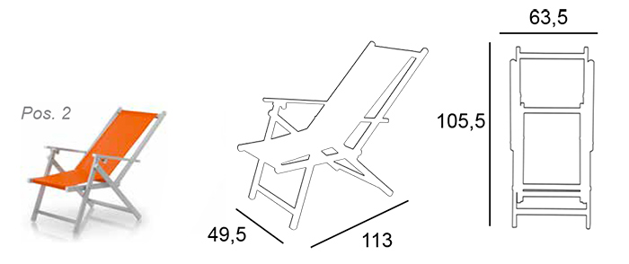 Taille chaise pliante aluminium Marinella Ramberti