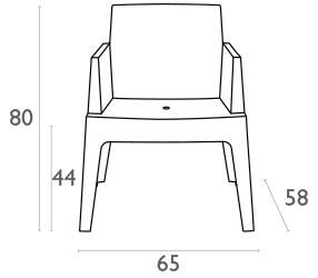 Dimensions fauteuil de terrasse BOX en résine blanche