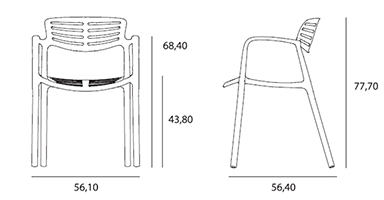 dimensions fauteuil en polypropylène Toledo Air du fabricant Resol